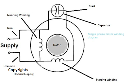 single phase motor winding diagram