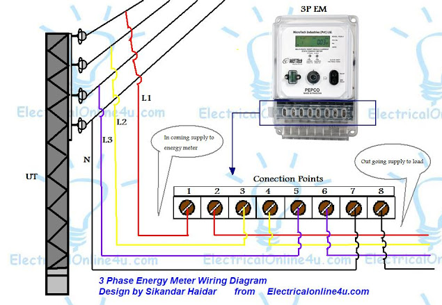3 phase kWh meter wiring diagram