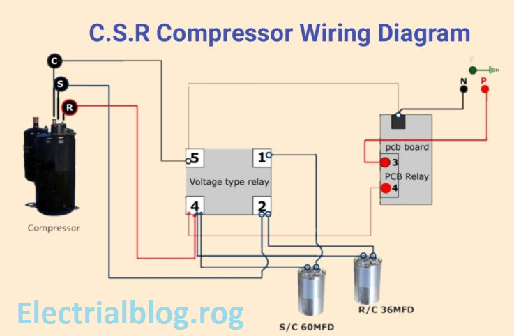 C.S.R Compressor Wiring Diagram Single Phase With voltage Type Relay
