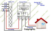 Single phase energy meter connection diagram